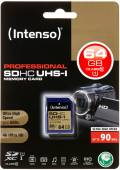 Intenso SDXC Karte 64GB Speicherkarte UHS-I professional 90 MB/s Class 10
