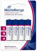 4 Mediarange Super Heavy Duty AA / Mignon Zink-Kohle Batterien im 4er Blister