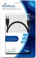 Mediarange USB Kabel USB 3.0 Typ A - USB 3.1 Typ C 1,2 m schwarz