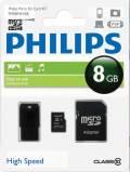 Philips Micro SDHC Karte 8GB Speicherkarte Class 10 inkl. USB Adapter