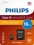 Philips Micro SDHC Karte 16GB Speicherkarte UHS-I U1 Class 10