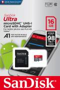 Sandisk Micro SDHC Karte 16GB Speicherkarte Ultra Android UHS-I 98 MB/s A1 Class 10