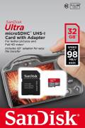 Sandisk Micro SDHC Karte 32GB Speicherkarte Ultra UHS-I U1 98 MB/s A1 Class 10