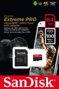 Sandisk Micro SDXC Karte 64GB Speicherkarte Extreme Pro UHS-I U3 4K 100 MB/s V30 A1 Class 10