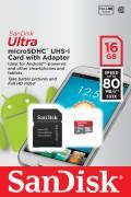 Sandisk Micro SDHC Karte 16GB Speicherkarte Ultra UHS-I 80 MB/s SDSQUNC-016G-GN6MA Class 10