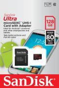 Sandisk Micro SDXC Karte 128GB Speicherkarte Ultra UHS-I 80 MB/s SDSQUNC-128G-GN6MA Class 10