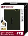 Transcend HDD externe Festplatte StoreJet 25M3 2,5 Zoll 1TB USB 3.1 military green