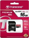 Transcend Micro SDHC Karte 16GB Speicherkarte Premium 400x UHS-I Class 10