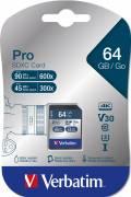Verbatim SDXC Karte 64GB Speicherkarte Pro UHS-I U3 4K Class 10