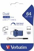 Verbatim USB Stick 64GB Speicherstick Store 'n' Go Dual Drive blau Typ C USB 3.1 mit USB 3.0
