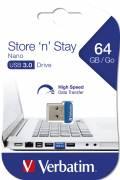 Verbatim USB Stick 64GB Speicherstick Store 'n' Stay Nano blau USB 3.0