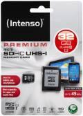 Intenso Micro SDHC Karte 32GB Speicherkarte UHS-I Premium 45 MB/s Class 10