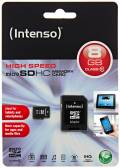 Intenso Micro SDHC Karte 8GB Speicherkarte Class 10
