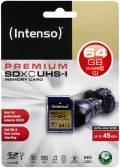 Intenso SDXC Karte 64GB Speicherkarte UHS-I Premium 45 MB/s Class 10