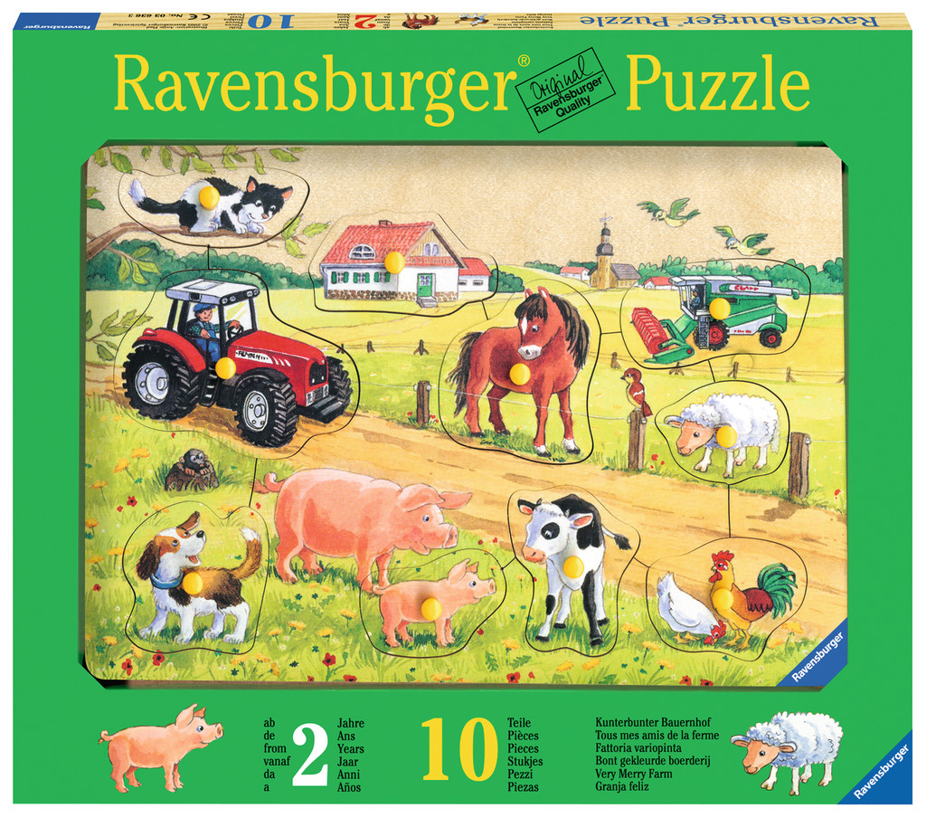 10 teile ravensburger kinder holz puzzle kunterbunter bauernhof 03672. Black Bedroom Furniture Sets. Home Design Ideas