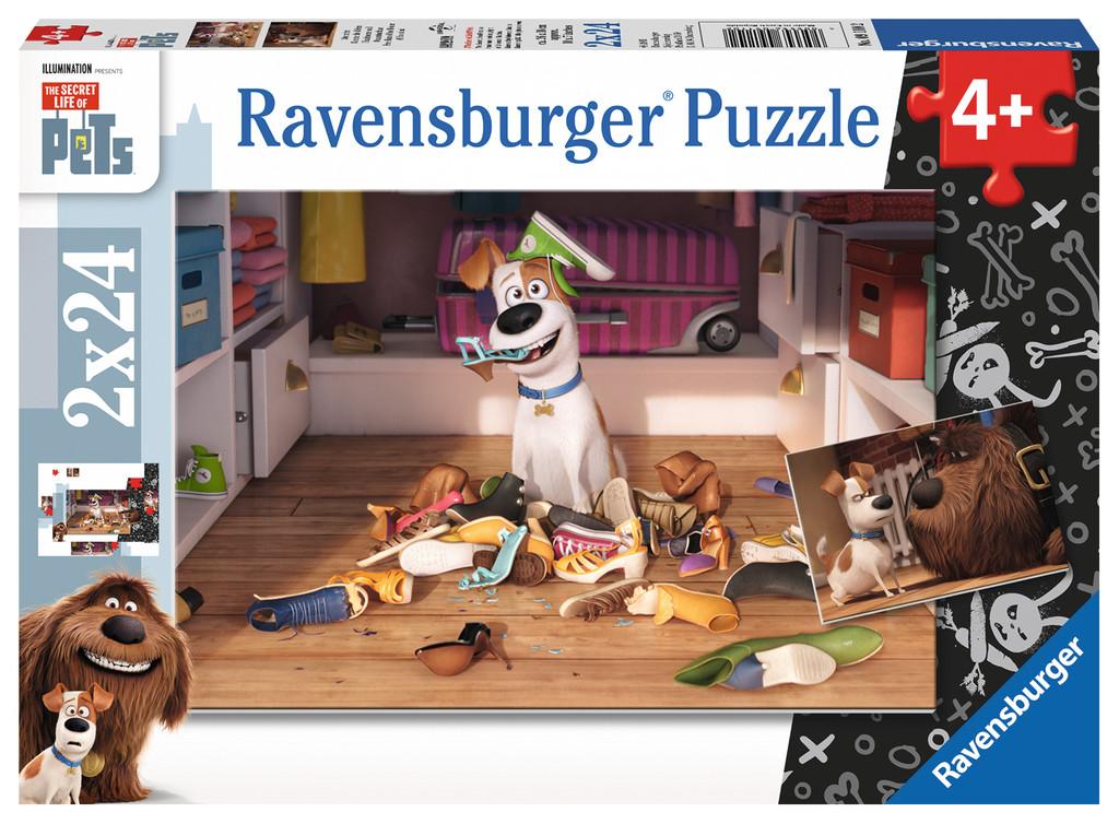 2 x 24 Teile Ravensburger Kinder Puzzle The Secret Life of Pets Sturmfrei 09110