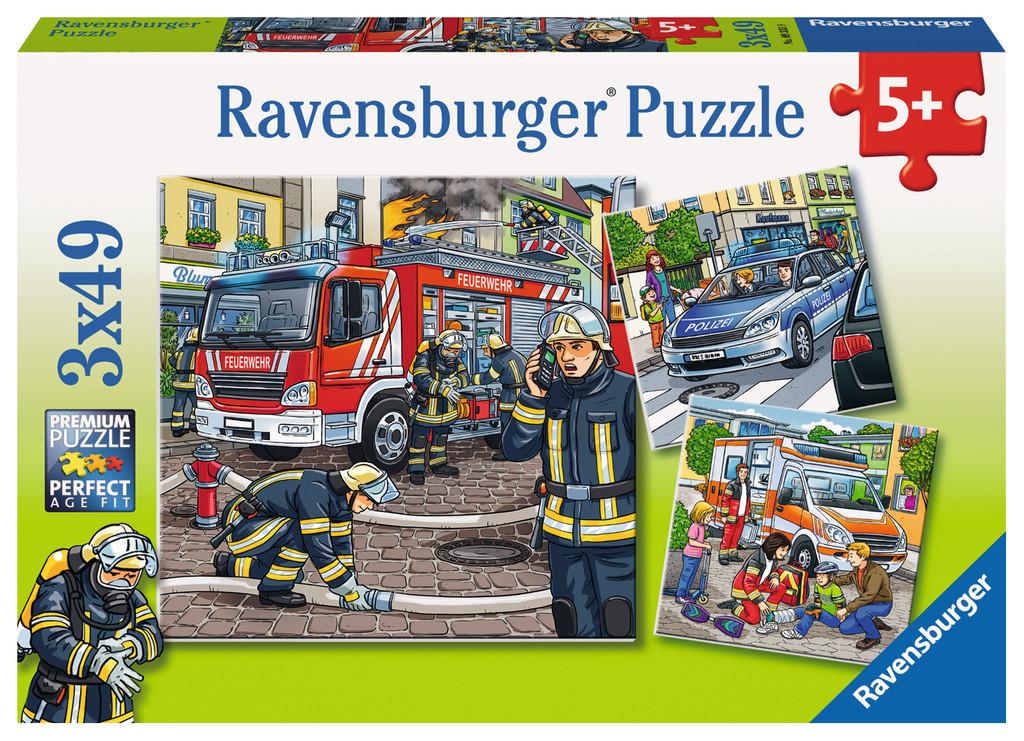 3 x 49 Teile Ravensburger Kinder Puzzle Helfer in der Not 09335