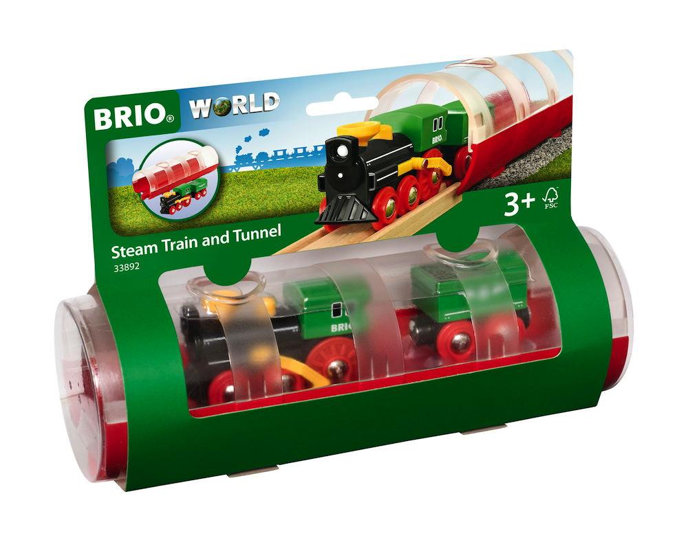 Brio World Eisenbahn Zug Tunnel Box Dampflokzug 3 Teile 33892