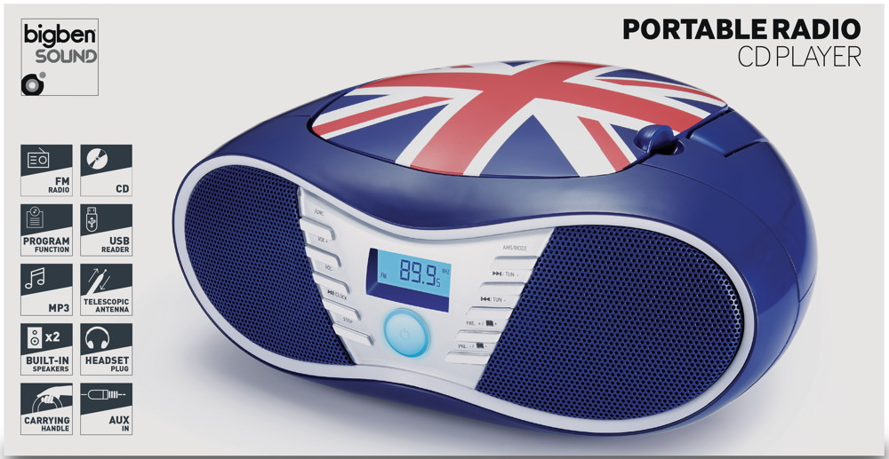 bigben tragbarer cd player cd58 union jack usb mp3 fm. Black Bedroom Furniture Sets. Home Design Ideas