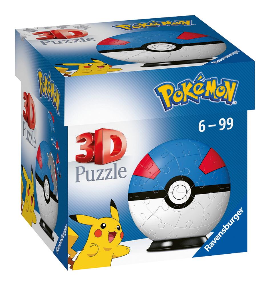 54 Teile Ravensburger 3D Puzzle Ball Pokémon Pokéball Superball 11265