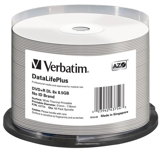 50 Verbatim Professional Rohlinge DVD+R Double Layer full printable Thermo 8,5GB 8x Spindel