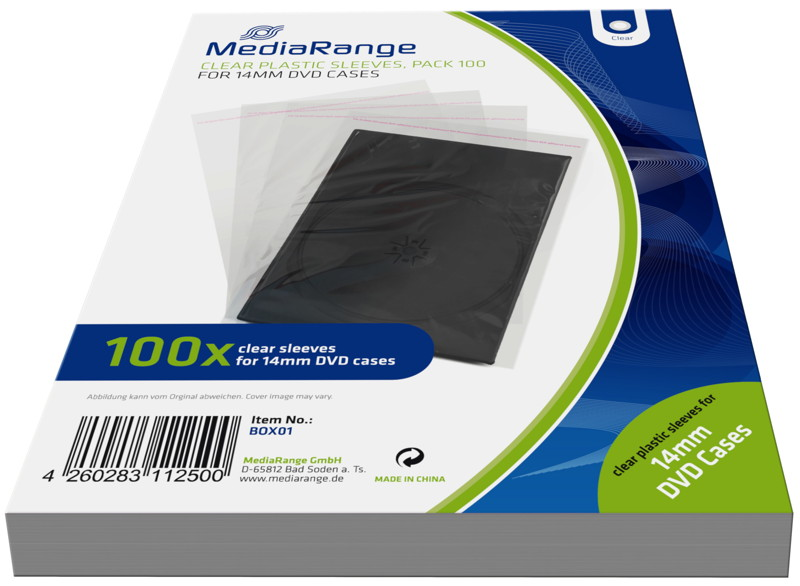 100 mediarange taschen f r 14 mm dvd h llen transparent. Black Bedroom Furniture Sets. Home Design Ideas