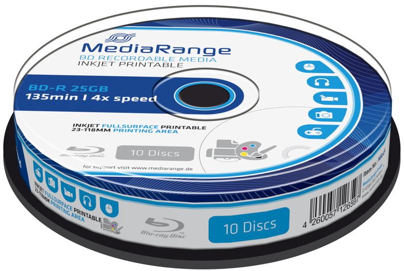 10 Mediarange Rohlinge Blu-ray BD-R full printable 25GB 4x Spindel