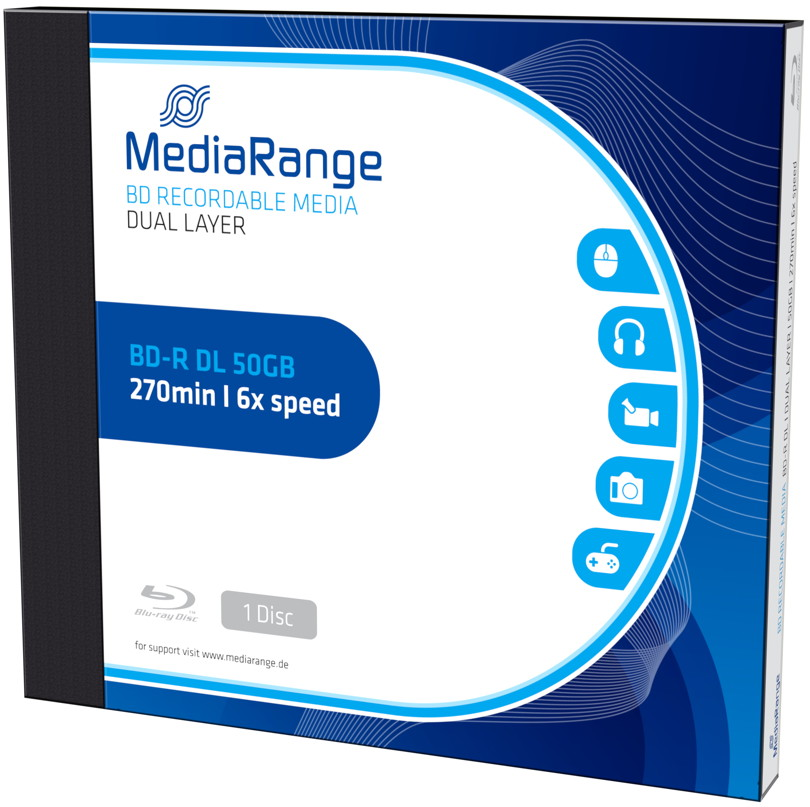 1 Mediarange Blu-ray BD-R Double Layer 50GB 6x Jewelcase