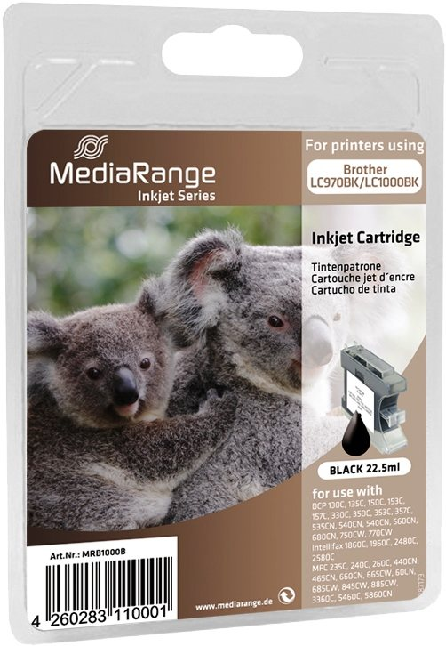 5 Mediarange kompatible Tintenpatrone zu Brother LC970BK / LC1000BK black