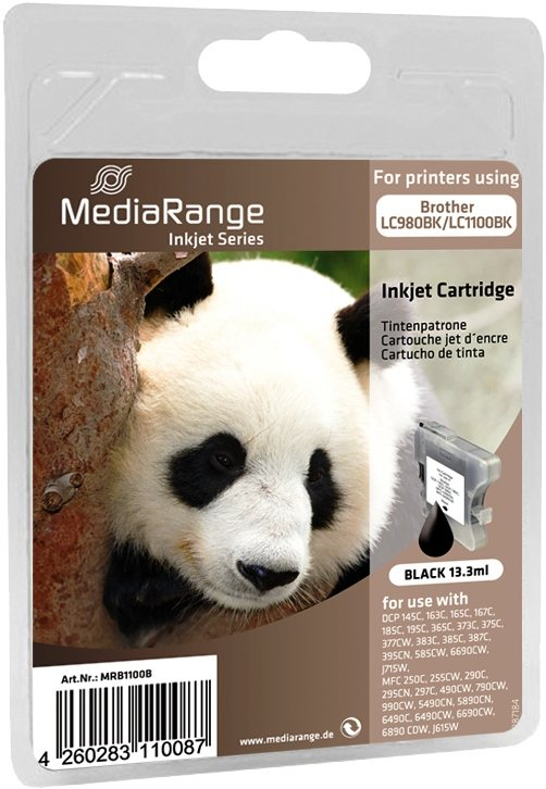 Mediarange kompatible Tintenpatrone zu Brother LC980BK / LC1100BK black 13,3 ml
