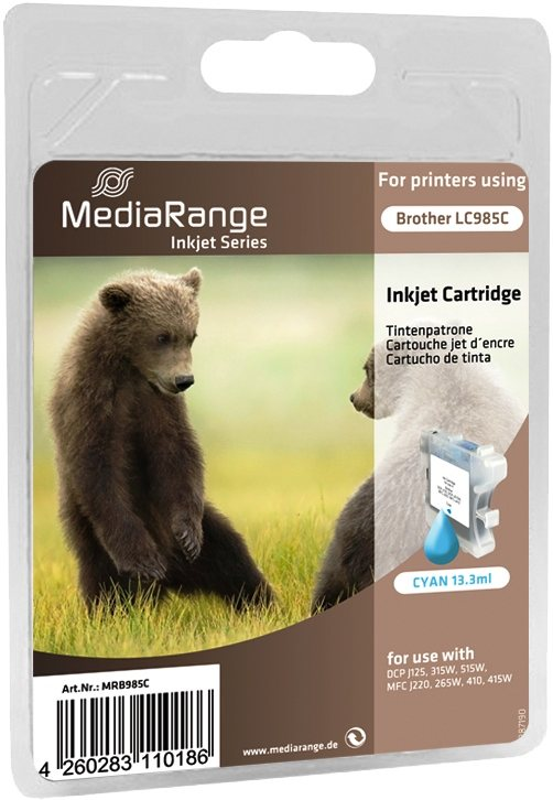 Mediarange kompatible Tintenpatrone zu Brother LC985C cyan 13,3 ml