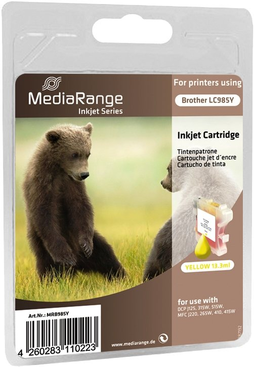 Mediarange kompatible Tintenpatrone zu Brother LC985Y yellow 13,3 ml