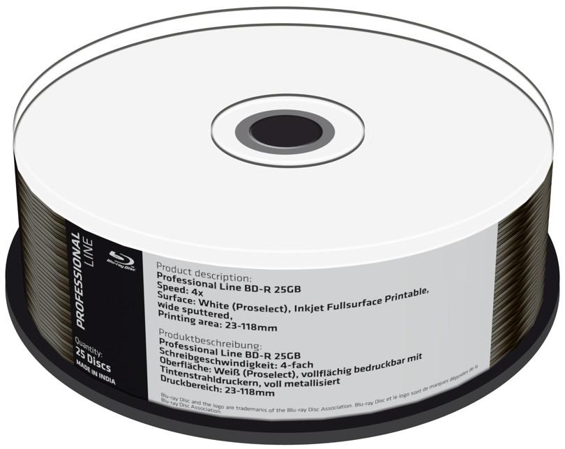 Mediarange 25 Professional Rohlinge Blu-ray BD-R full printable 25GB 4x Spindel