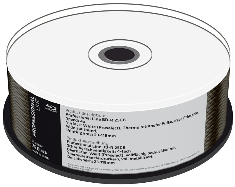 Mediarange 25 Professional Rohlinge Blu-ray BD-R full printable Thermo 25GB 4x Spindel