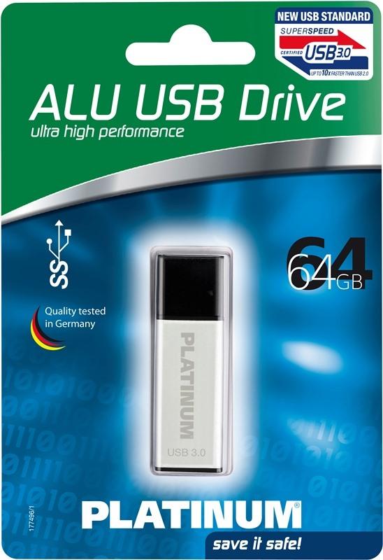 Platinum USB Stick 64GB Speicherstick Aluminium USB 3.0