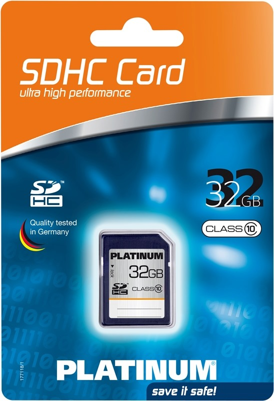 Platinum SDHC Karte 32GB Speicherkarte Klasse 10