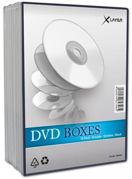 10 Xlayer DVD Hüllen slim 7 mm für je 2 CD/DVD