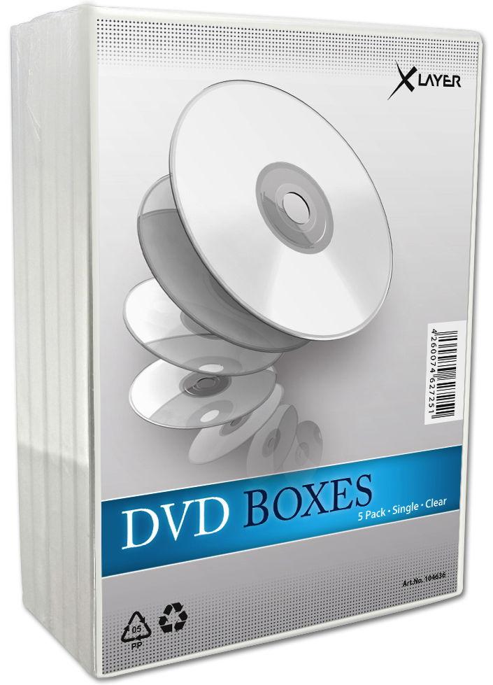 5 xlayer dvd h llen 1er box 14 mm f r je 1 bd cd dvd transparent ebay. Black Bedroom Furniture Sets. Home Design Ideas