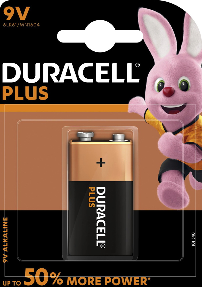1 Duracell Plus Power 9V Block / MN1604 Alkaline Batterien Blister
