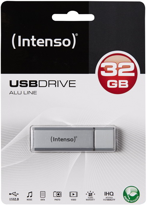 Intenso USB Stick 32GB Speicherstick Alu Line silber