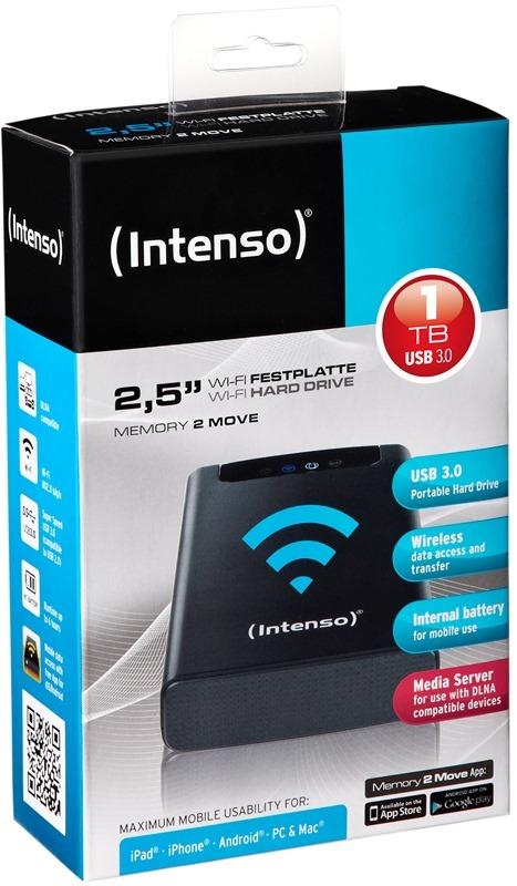 Intenso HDD externe Festplatte Memory 2 Move Wi-Fi 2,5 Zoll 1TB USB 3.0 schwarz