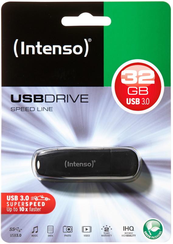 Intenso USB Stick 32GB Speicherstick Speed Line schwarz USB 3.0