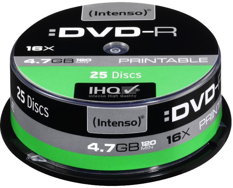 25 Intenso Rohlinge DVD-R printable 4,7GB 16x Spindel