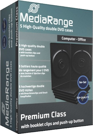 100 Mediarange DVD Hüllen 14 mm für je 2 CD/DVD