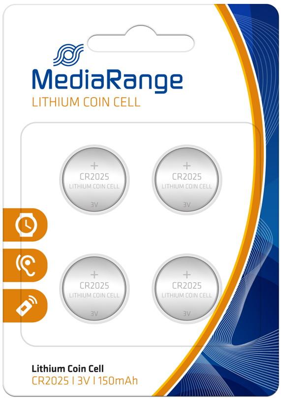 40 mediarange cr 2025 lithium knopfzelle batterien im 4er blister. Black Bedroom Furniture Sets. Home Design Ideas
