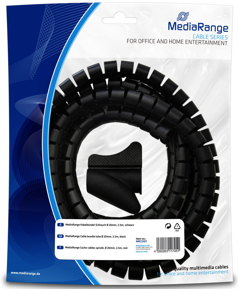 mediarange kabelkanal kabel schlauch 2 5 m teilbar 20mm. Black Bedroom Furniture Sets. Home Design Ideas