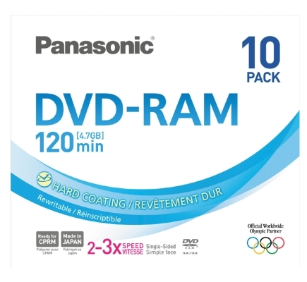 100 Panasonic DVD-RAM 4,7GB 120Min 3x Slimcase