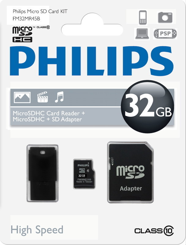 philips micro sdhc karte 32gb speicherkarte class 10 inkl. Black Bedroom Furniture Sets. Home Design Ideas