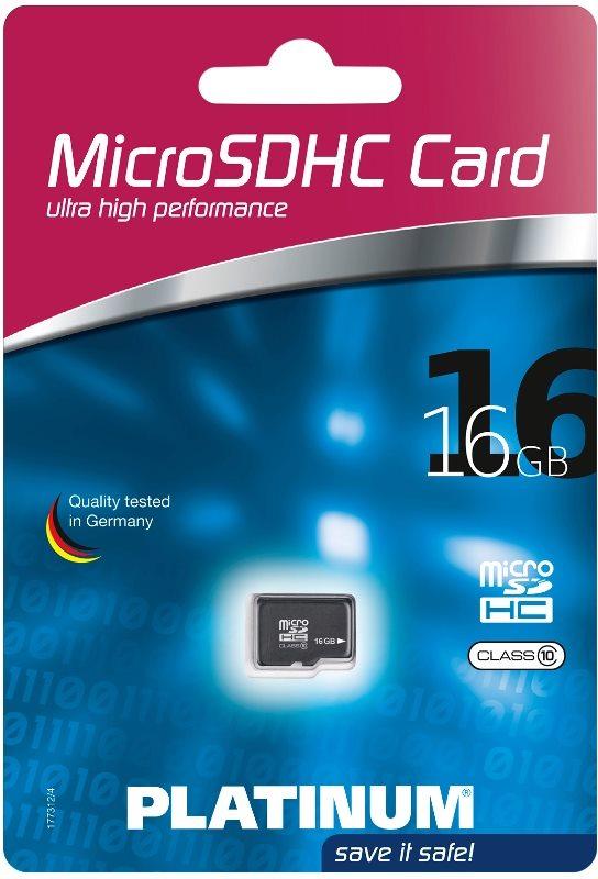 Platinum Micro SDHC Karte 16GB Speicherkarte Klasse 10