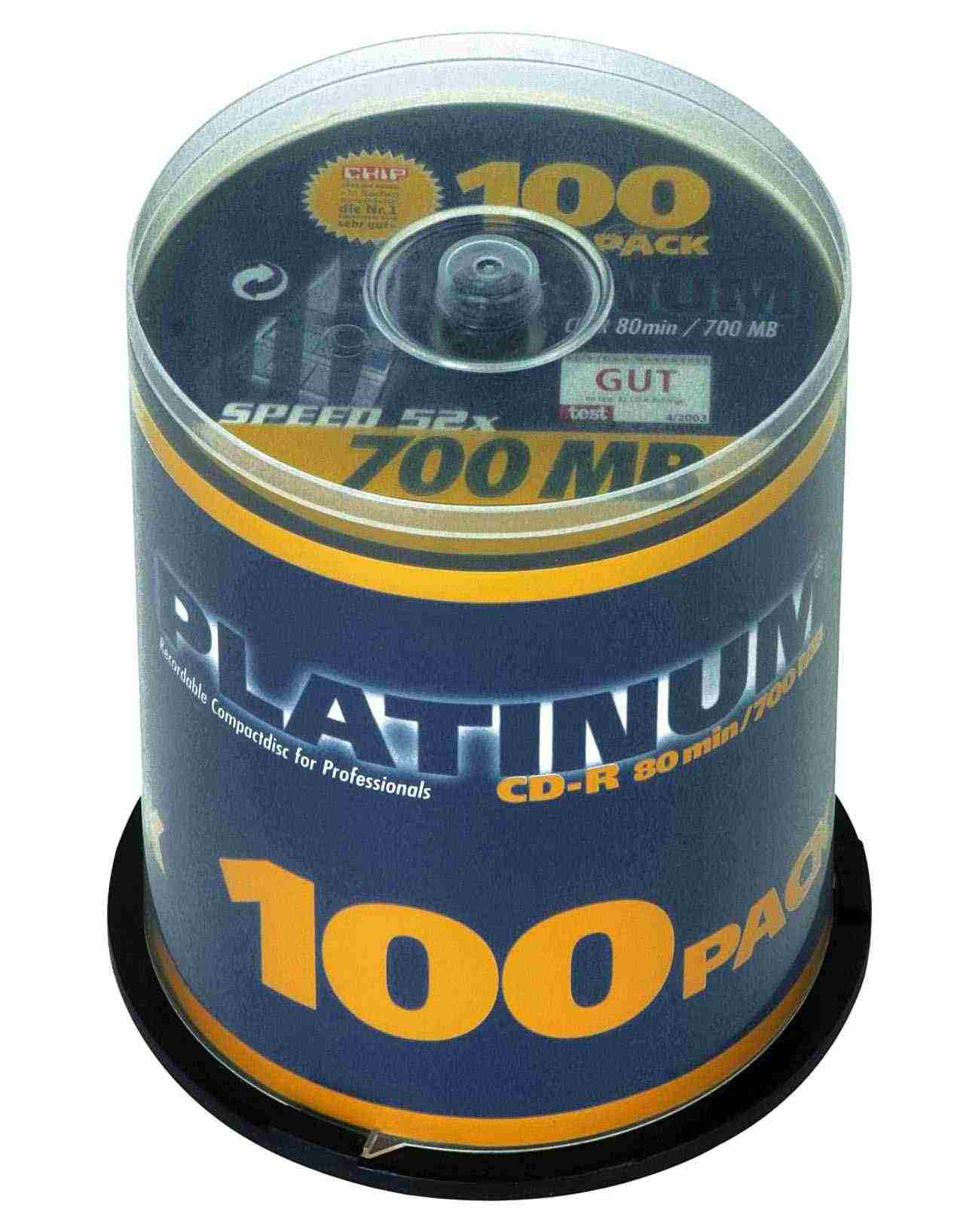 100 Platinum CD-R 80min 700MB 52x Spindel